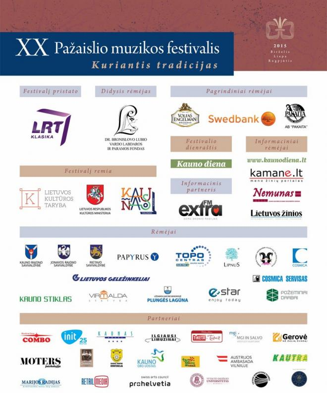 2015 m. rėmėme XX Pažaislio muzikos festivalį:
